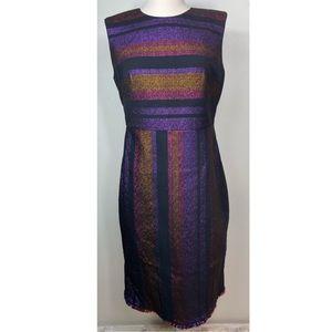 Diane Von Furstenberg Metallic Sheath Dress 8